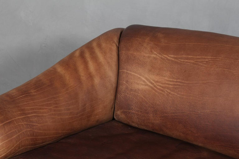 Vintage De Sede Three-Seat Sofa, DS47, Patinated Leather In Good Condition For Sale In Esbjerg, DK