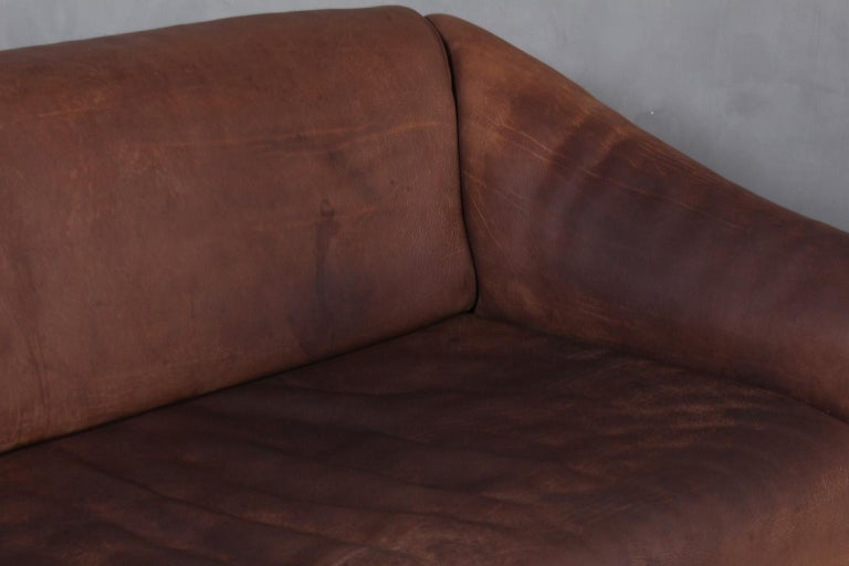 Vintage De Sede Three-Seat Sofa, DS47, Patinated Leather In Good Condition In Esbjerg, DK