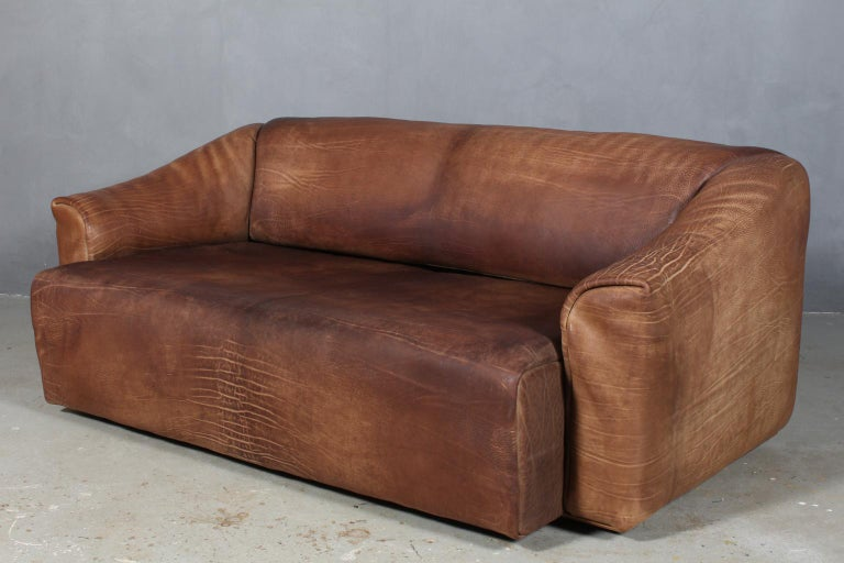 Mid-20th Century Vintage De Sede Three-Seat Sofa, DS47, Patinated Leather For Sale