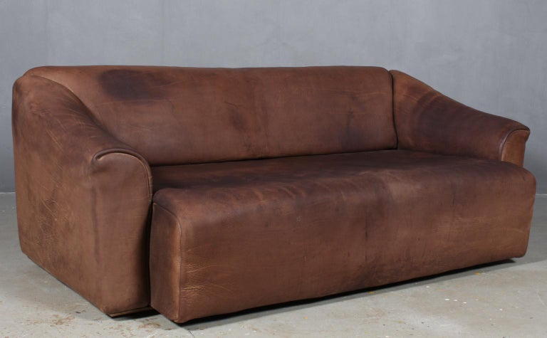 Mid-20th Century Vintage De Sede Three-Seat Sofa, DS47, Patinated Leather