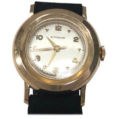 Vintage Deco 14 Karat Gold Wittnauer Automatic Watch with Original Suede Band