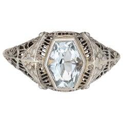 Vintage Deco Aquamarine Ring Antique 18 Karat White Gold Filigree Estate Jewelry