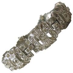 Vintage Deco Crystal & Pot Metal Bracelet