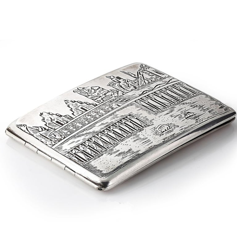 Vintage Deco cigarette case. Length: 4 inch Width: 2.75 inch Height: 0.25 inch