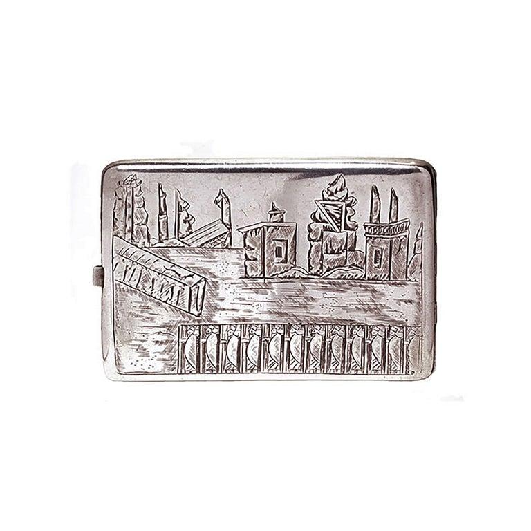 Vintage Deco Design Cigarette Case In Fair Condition For Sale In New York, NY
