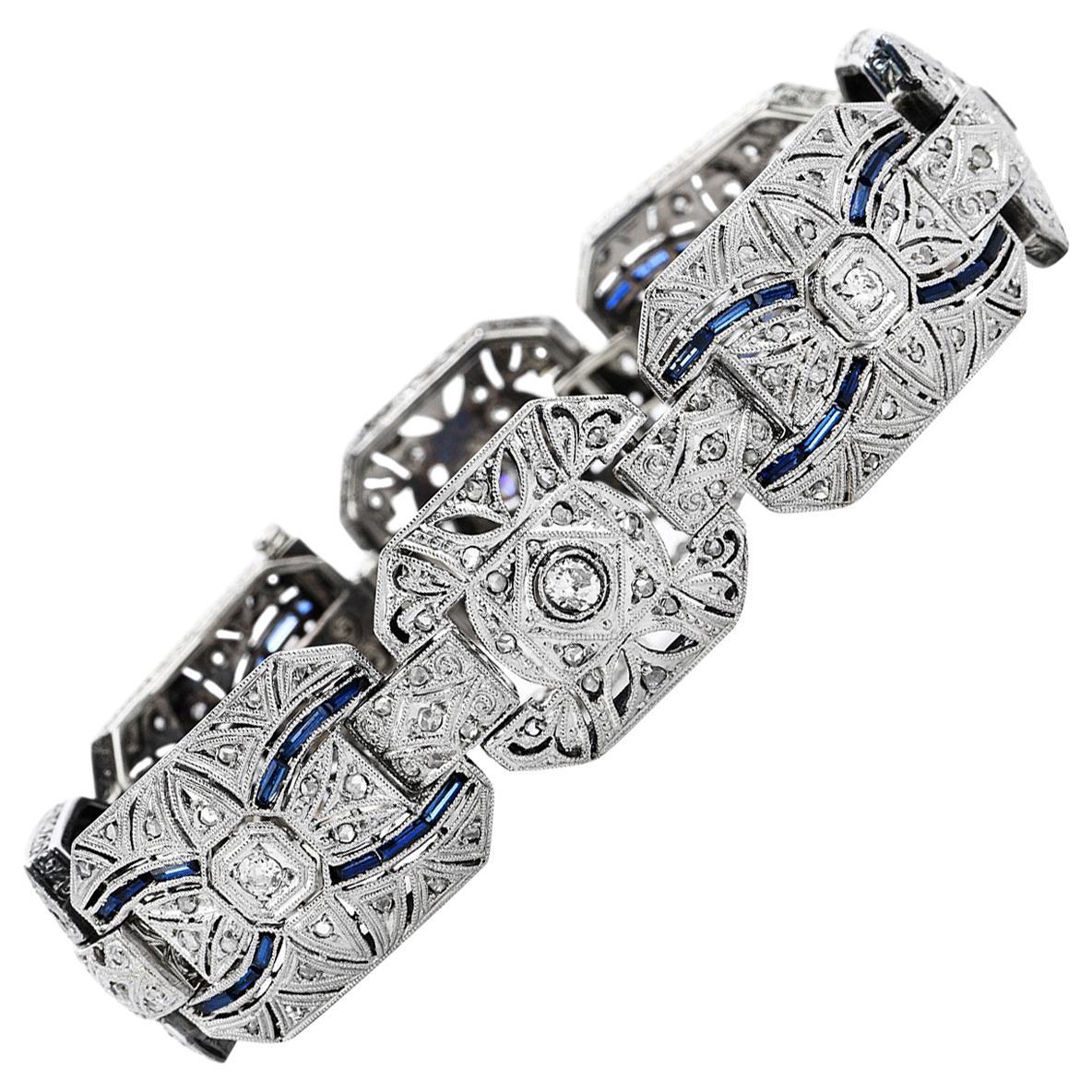 Vintage Deco Diamond Blue Sapphire Platinum Filigree Link Bracelet