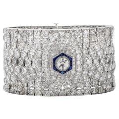 Vintage Deco Diamond Sapphire Art Deco Wide Platinum Bracelet