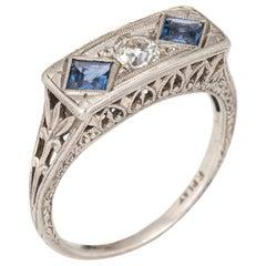 Vintage Deco Diamond Sapphire Ring Antique Jewelry Filigree Square Bridge