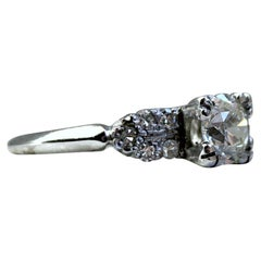 Vintage Deco Platinum Diamond Engagement Ring with GIA Certified 1.02 Carat