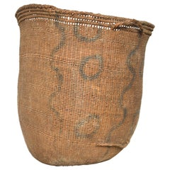 Vintage Decor Handcrafted Woven African Art Carry Basket with Modern Graphics