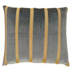 Vintage Decorative Art Deco Green Velvet Pillow with Gold Stripes