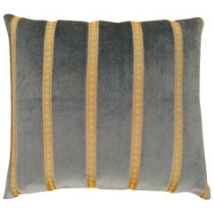 Vintage Decorative Art Deco Green Velvet Pillow with Gold Stripes