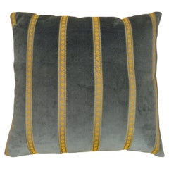 Vintage Decorative Art Deco Pillow in Light Green with Gold Stripe Brocade