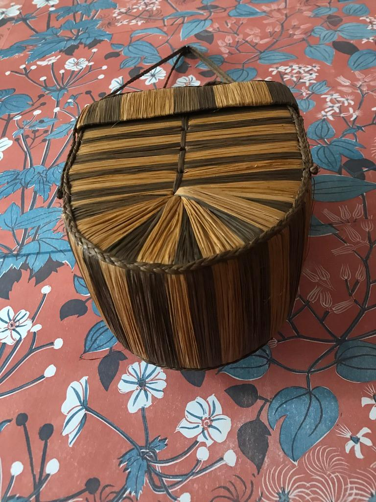 Congolese Vintage Decorative Basket in Raffia and Reed Made by the Kuba Tribe, Congo 1930s