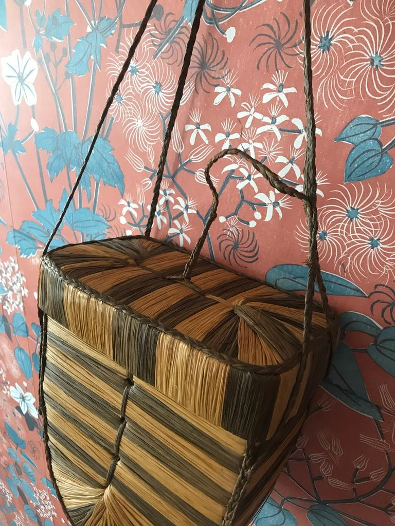 Vintage Decorative Basket in Raffia and Reed Made by the Kuba Tribe, Congo 1930s In Good Condition In Copenhagen K, DK