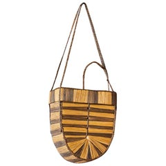 Vintage Decorative Basket in Raffia and Reed Made by the Kuba Tribe, Congo 1930s
