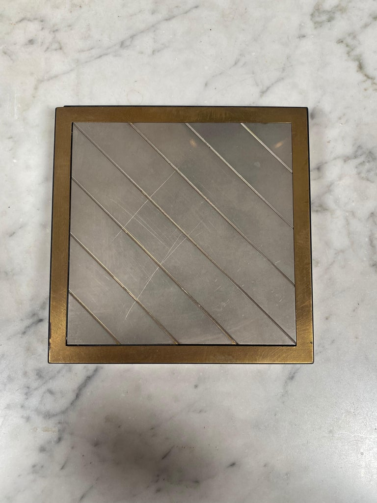 Mid-Century Modern Vintage Decorative Box Silver and Brass, Italy, 1970s For Sale