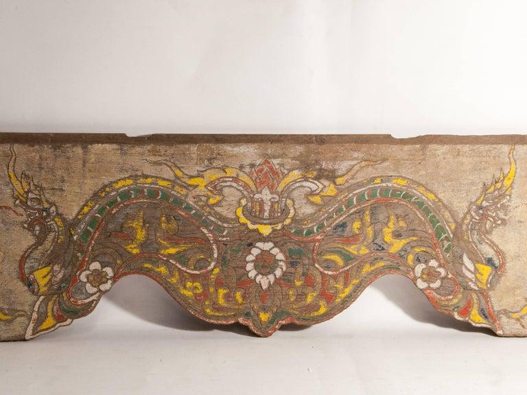 Folk Art Vintage Decorative Cart Panel, Naga Motif, Mid-20th Century, North Thailand For Sale
