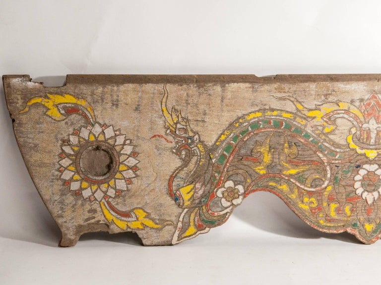 Hand-Crafted Vintage Decorative Cart Panel, Naga Motif, Mid-20th Century, North Thailand For Sale