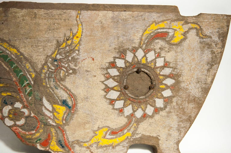 Vintage Decorative Cart Panel, Naga Motif, Mid-20th Century, North Thailand In Distressed Condition For Sale In San Franciso, CA