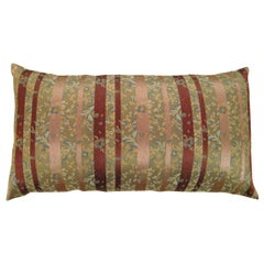 Vintage Decorative Chinoiserie Brocade Pillow with Stripes
