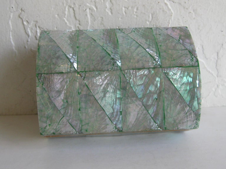 Vintage Decorative Crackled Natural Abalone Shell Desk Stash Jewelry Box For Sale 6