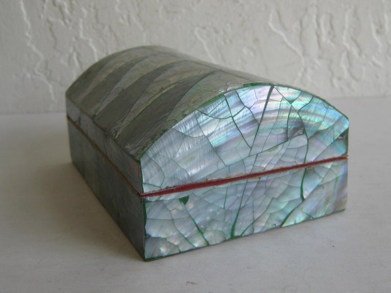 Vintage Decorative Crackled Natural Abalone Shell Desk Stash Jewelry Box For Sale 7