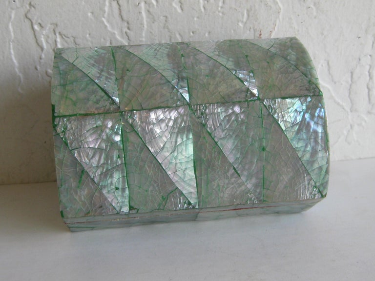 Vintage Decorative Crackled Natural Abalone Shell Desk Stash Jewelry Box For Sale 8