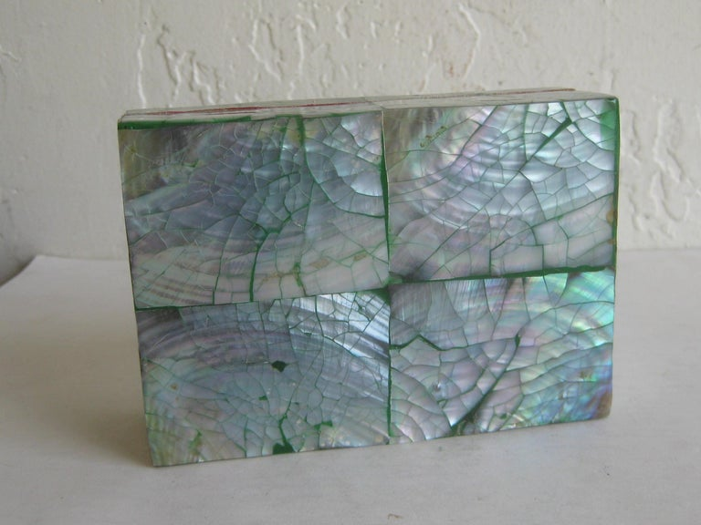 Vintage Decorative Crackled Natural Abalone Shell Desk Stash Jewelry Box For Sale 9
