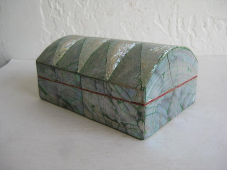 Vintage Decorative Crackled Natural Abalone Shell Desk Stash Jewelry Box For Sale 3