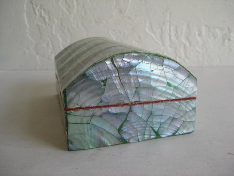 Vintage Decorative Crackled Natural Abalone Shell Desk Stash Jewelry Box For Sale 4