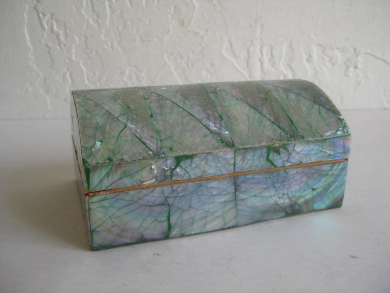 Vintage Decorative Crackled Natural Abalone Shell Desk Stash Jewelry Box For Sale 5