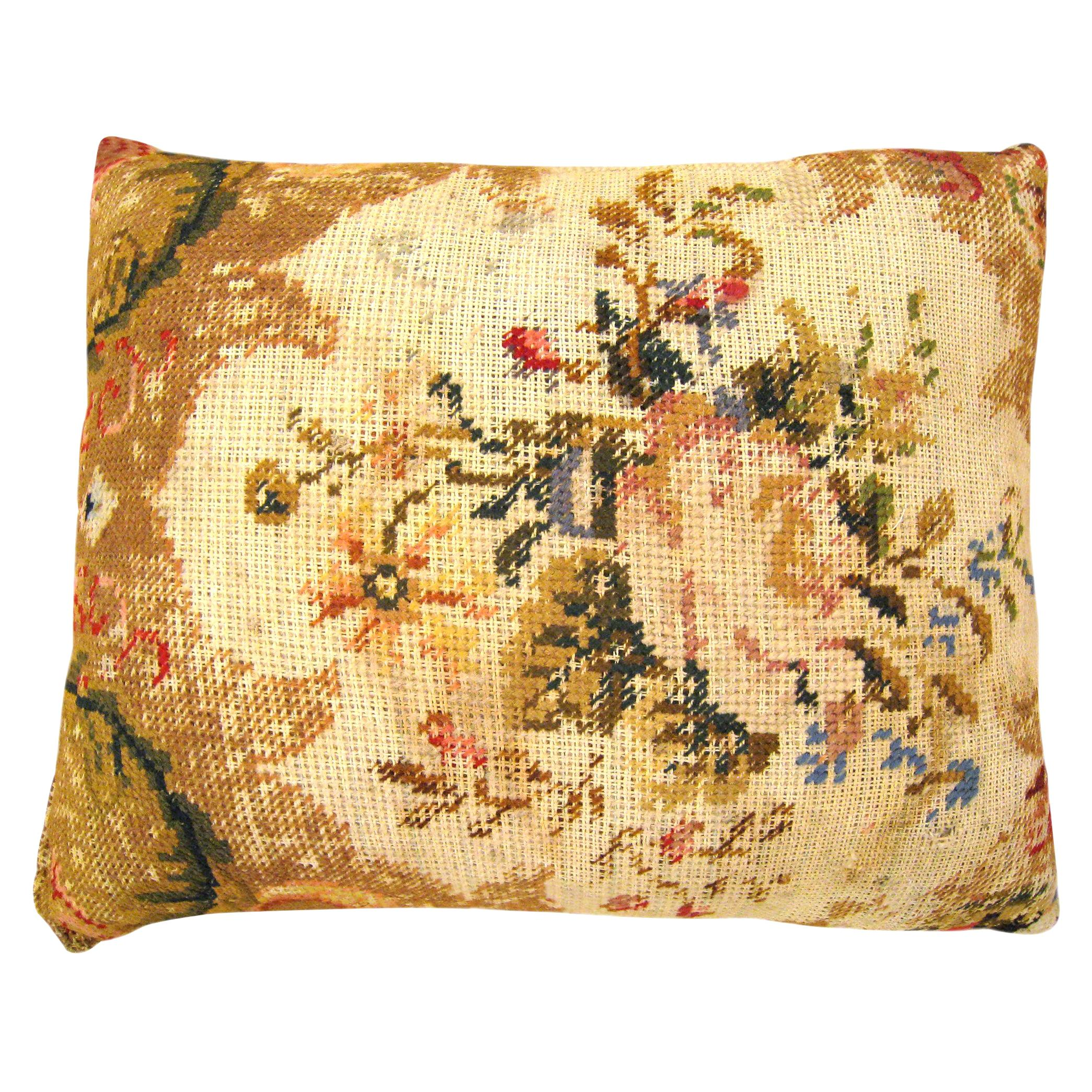 Vintage Decorative English Needlepoint Pillow, with Terracotta Linen Backing
