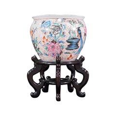 Vintage Decorative Fish Bowl, Chinese, Ceramic, Rosewood, Jardiniere, Art Deco