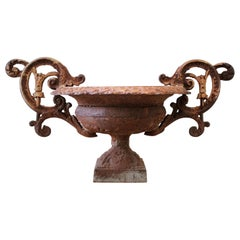Vintage Decorative Iron Urn with Rust Patina