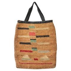 Vintage Decorative Native American Corn Husk Bag, American Late 19th-Century