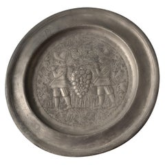 Vintage Decorative Pewter Plate with Grape Pickers
