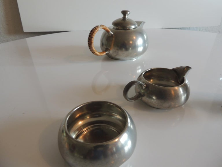 Rattan Vintage Decorative Pewter Tea Set by Royal Holland For Sale