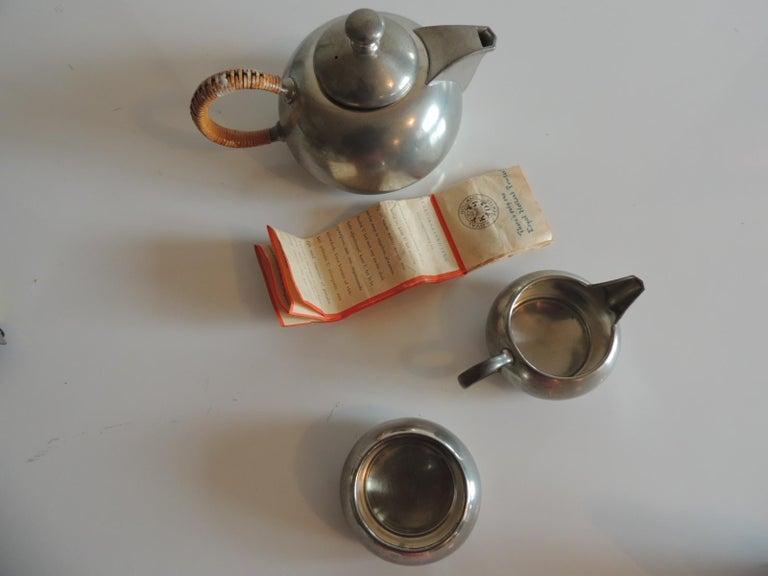 Vintage Decorative Pewter Tea Set by Royal Holland For Sale 1