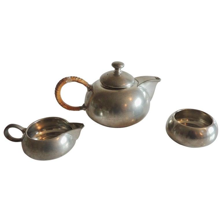 Vintage Decorative Pewter Tea Set by Royal Holland For Sale
