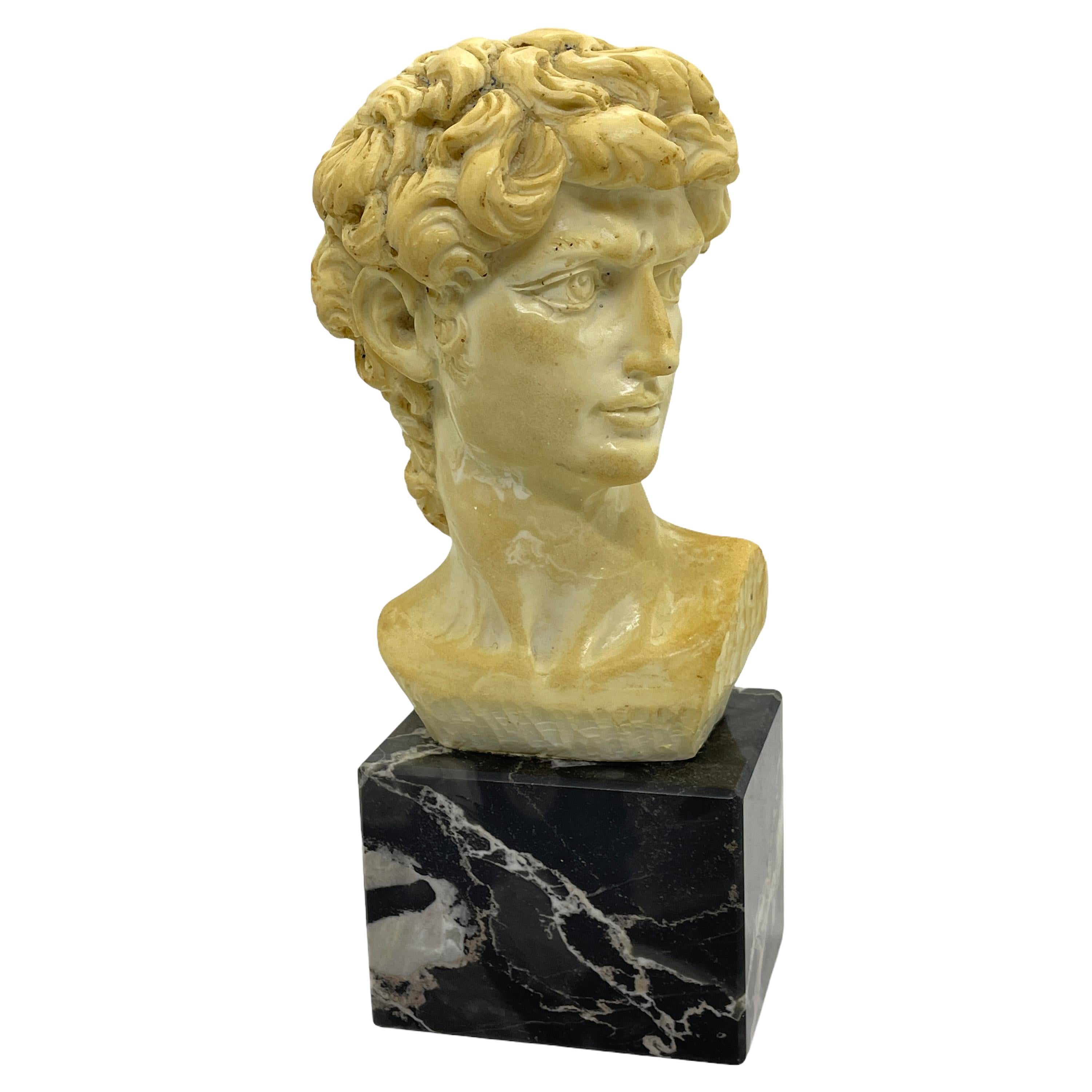 Vintage Decorative Roman or Greek Bust Statue on Marble Base, 1960s