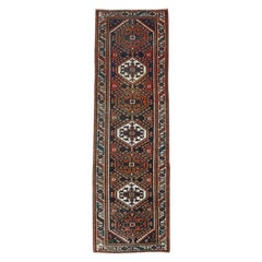 Vintage Deep Red Persian Karajeh with Serrated Medallions Wool Hand Knotted Rug