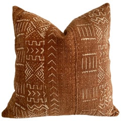 Vintage Deep Rust Colored African Mali Cloth Pillow with Insert