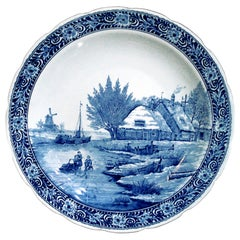 Vintage Delfts Blue and White Landscape Large Decorative Ceramic Plate