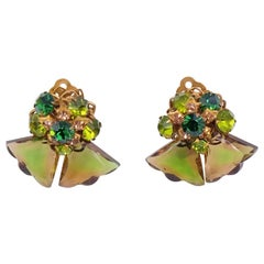 Vintage DeMario Green Clip on Earrings