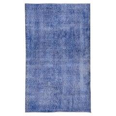 Vintage Denim Blue Overdyed Sparta Rug, Indigo Accents