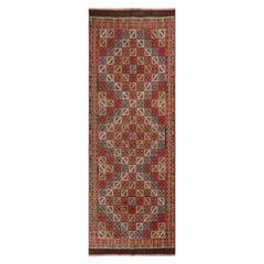 Vintage Denizli Green Brown and Red Wool Kilim Rug