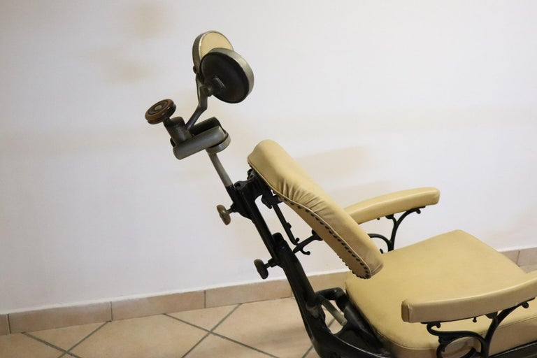 Italian Vintage Dentist Chair in Decorative Iron and Leather by Harvard, 1910s For Sale