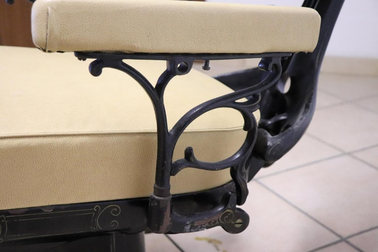 Vintage Dentist Chair in Decorative Iron and Leather by Harvard, 1910s For Sale 2