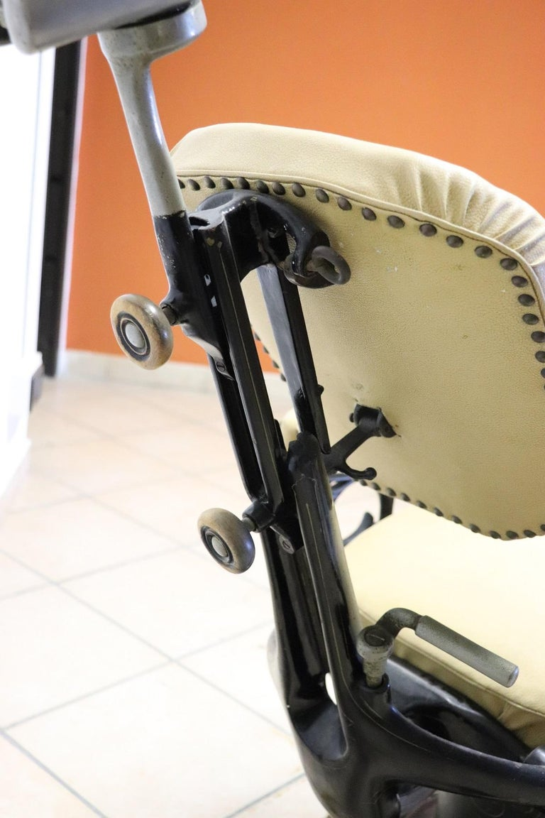 Vintage Dentist Chair in Decorative Iron and Leather by Harvard, 1910s For Sale 4